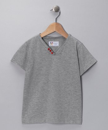 Gray Mélange V-Neck Tee - Kids