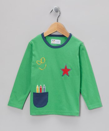 Green Crayon Pocket Tee - Infant, Toddler & Kids