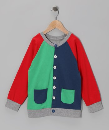 Navy & Teal Color Block Cardigan - Boys