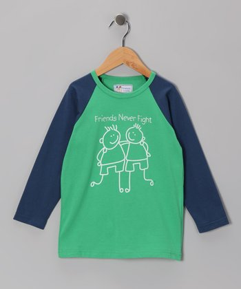 Green 'Friends Never Fight' Raglan Tee - Infant