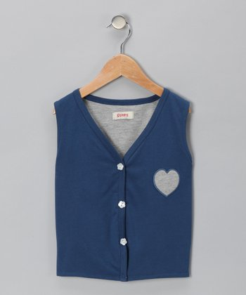 Blue Heart Sweater Vest - Boys