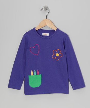 Purple Crayon Pocket Tee - Infant & Girls