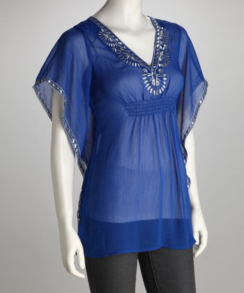 Cobalt Cape-Sleeve Tunic