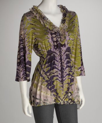 Heather Feather V-Neck Tunic