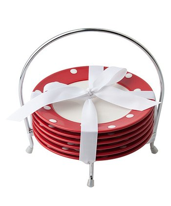 Red Polka Dot Dish & Caddy Set