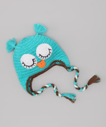Blue Sleeping Owl Wool-Blend Earflap Beanie