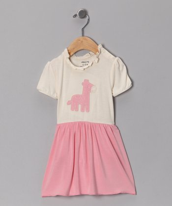 Cotton Candy Giraffe Organic Skirted Bodysuit