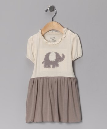 Mocha Elephant Organic Skirted Bodysuit - Infant