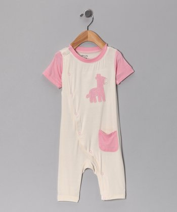 Cotton Candy Giraffe Organic Romper - Infant
