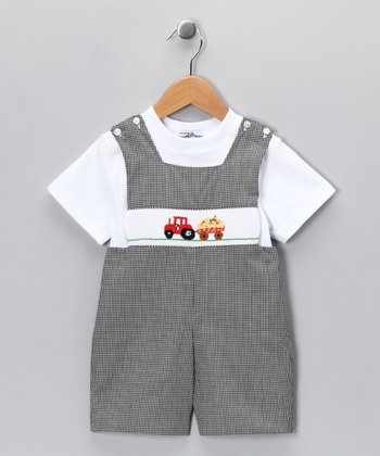 White Tee & Black Tractor John Johns - Toddler