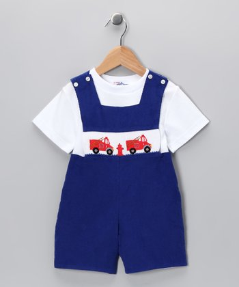 Blue Fire Truck Corduroy John Johns & White Tee - Infant