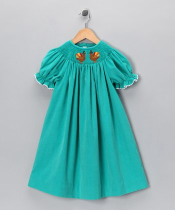 Teal Turkey Corduroy Bishop Dress - Infant & Toddler