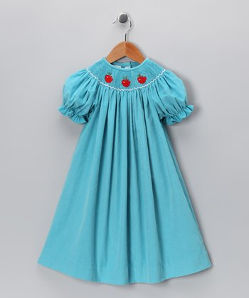 Blue Apple Corduroy Bishop Dress - Toddler & Girls