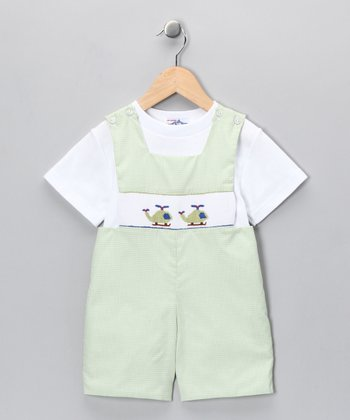 White Tee & Green Helicopter Shortalls - Infant & Toddler