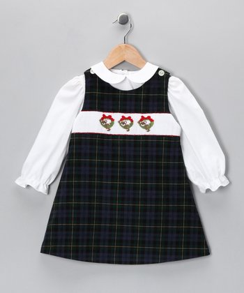 White Top & Plaid Bear Jumper - Infant, Toddler & Girls