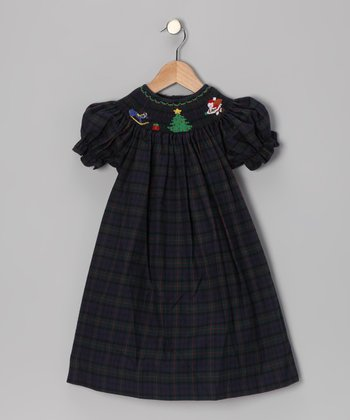 Navy Plaid Noel Bishop Dress - Toddler & Girls