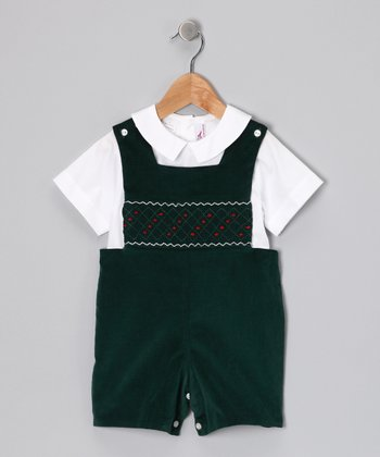 White Top & Green Velvet John Johns - Toddler