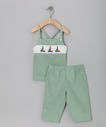 Green Boat Smocked Tank & Capri Pants - Infant, Toddler & Girls
