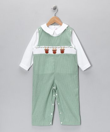 White Shirt & Green Rudolph Overalls - Toddler
