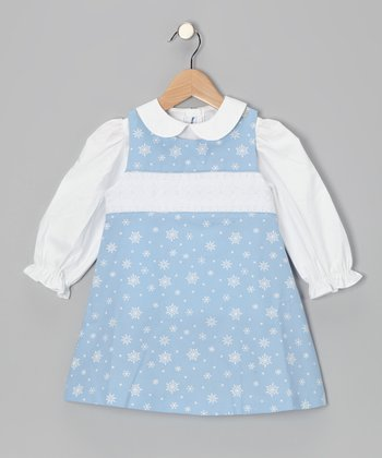 White Top & Blue Snowflake Jumper - Infant, Toddler & Girls