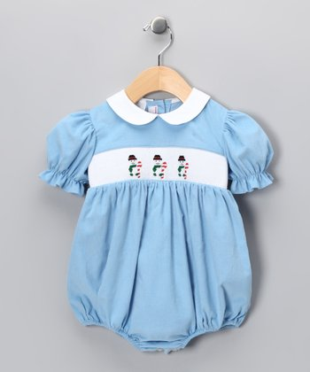Light Blue Snowman Corduroy Bubble Bodysuit - Infant