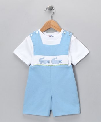 Blue Alligator Shortalls & White Tee - Toddler