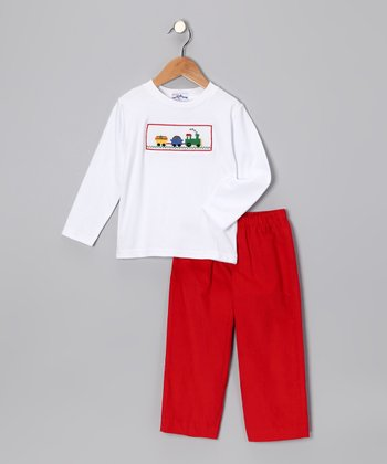 White Train Tee & Red Pants - Infant