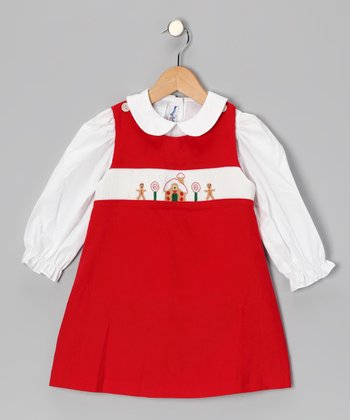 White Top & Red Gingerbread Jumper - Infant, Toddler & Girls