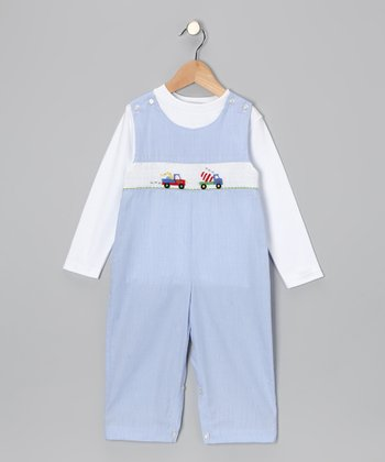 White Tee & Blue Truck Overalls - Infant & Toddler