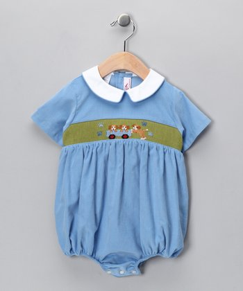 Blue Puppy Corduroy Bubble Bodysuit - Infant