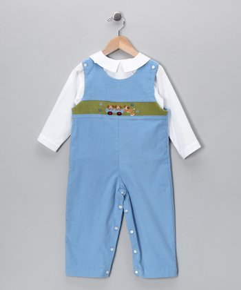 White Top & Blue Puppy Corduroy Overalls - Toddler