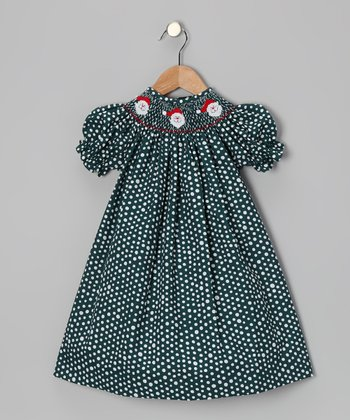 Green Santa Dot Bishop Dress - Infant, Toddler & Girls