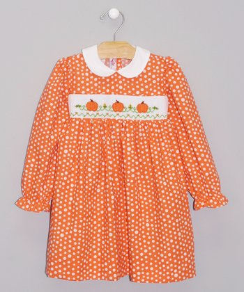 Orange Polka Dot Pumpkin Dress - Infant & Girls