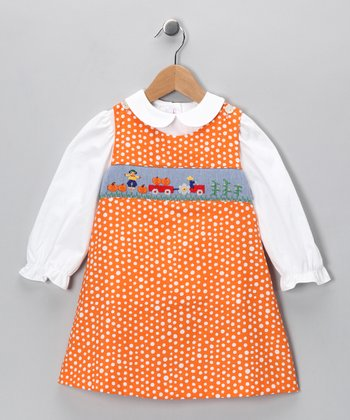 White Top & Orange Harvest Jumper - Infant