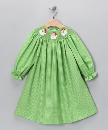 Green Santa Bishop Dress - Infant & Toddler