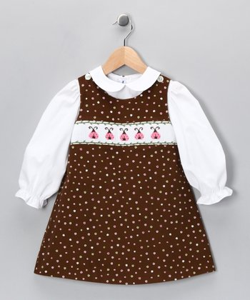 Brown Ladybug Corduroy Jumper & White Blouse - Infant & Girls