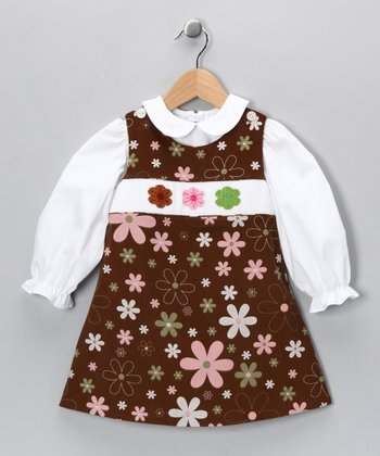 White Top & Brown Flower Jumper - Infant, Toddler & Girls