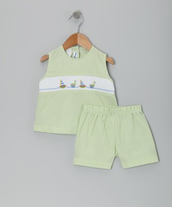 Green Sand & Sails Smocked Top & Shorts - Infant, Toddler & Girls