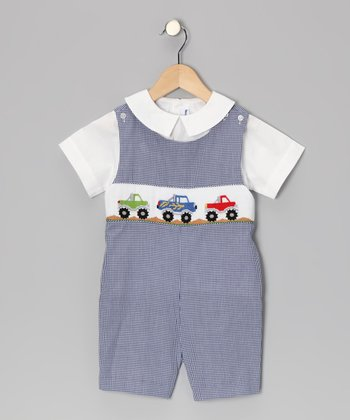 Blue Monster Truck John Johns & White Top - Infant & Toddler