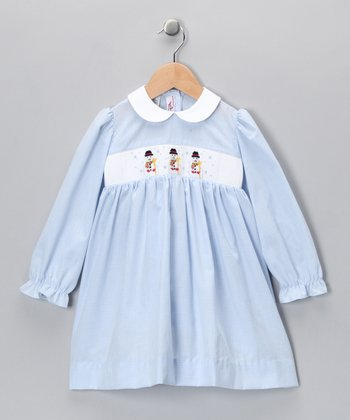 Light Blue Snowman Dress - Infant, Toddler & Girls