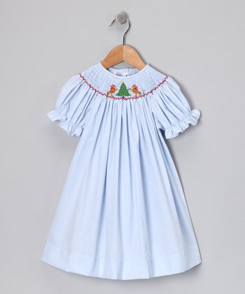 Blue Tree Trimming Bishop Dress - Girls