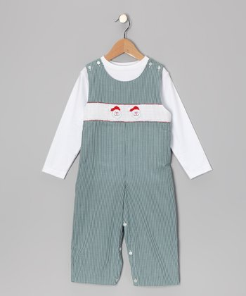 White Tee & Green Santa Overalls - Infant & Toddler