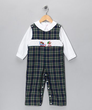 White Shirt & Blue Sleigh Plaid Overalls - Toddler