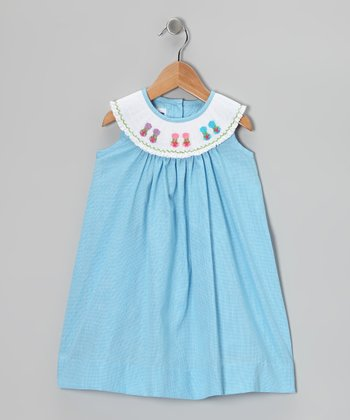 Blue Flip-Flop Smocked Yoke Dress - Infant, Toddler & Girls