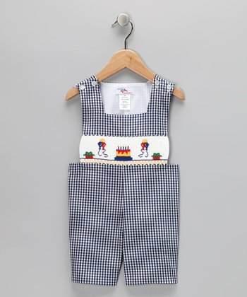 Navy Gingham Birthday John Johns - Infant & Toddler