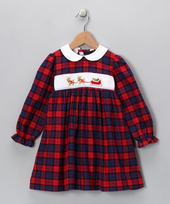 Red & Blue Sleigh Dress - Infant, Toddler & Girls