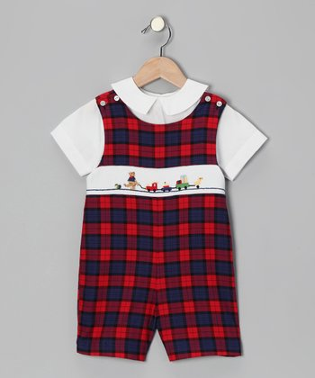 White Top & Red Plaid Bear John Johns - Toddler