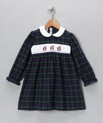Blue & Green Penguin Dress - Infant & Girls