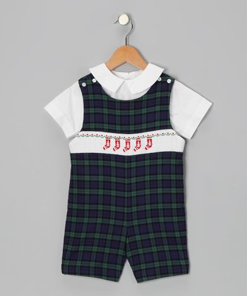 White Top & Blue Plaid Stocking Romper - Toddler