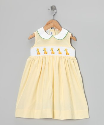 Yellow Giraffe Smocked Dress - Infant, Toddler & Girls